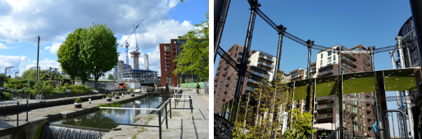 Regent's Canal and Gasholder Park with co-located housing/school in background