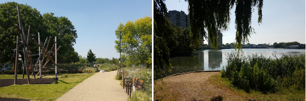 An upgraded playground (L) is surrounded by meadow landscaping, but is not always well-used due to lack of natural surveillance. Southmere lake (R) is used more frequently.