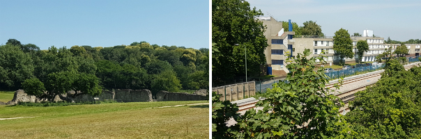 Lesnes Abbey ruins (L) and other 'hidden assets' are severed from Thamesmead. Major roads and railways (R) contribute to this severance.